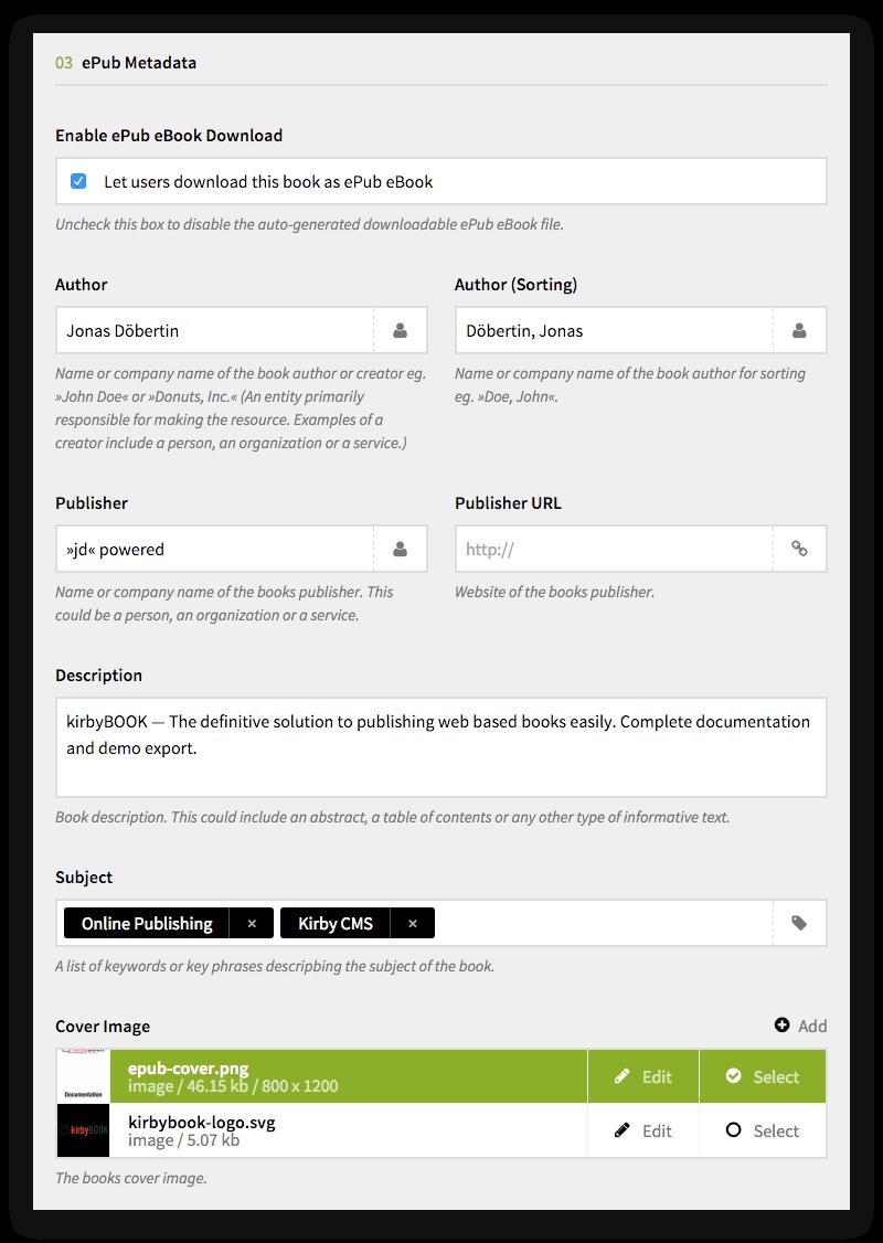 kirbyBOOK ePub Metadata Options