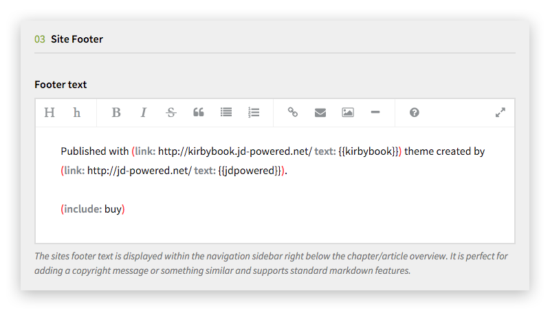 kirbyBOOK Site Footer Options