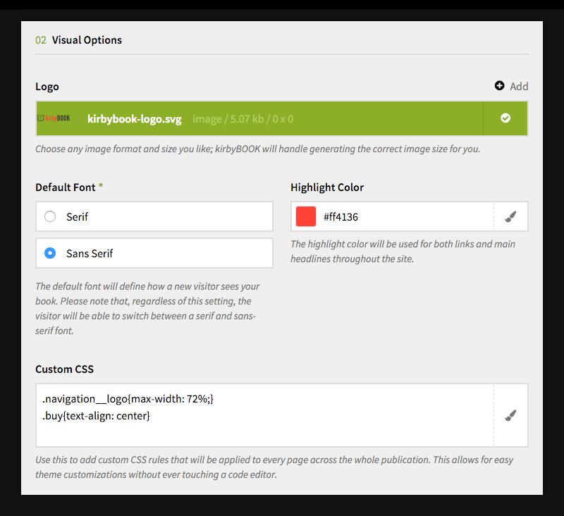 Configuration | kirbyBOOK – Publish web based online books